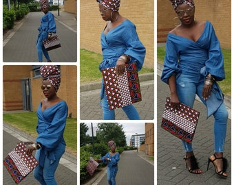 Towani Creations Oversized Fold Over Ankara African Fabric Clutch Purse Clutch Bag