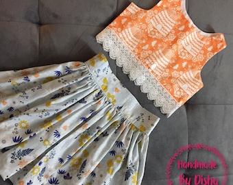 Girls spring outfit, toddler spring dress, girls skirt top set, crop top and skirt