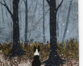 Border Collie dog Winter Art PRINT by Todd Young painting FIRST SNOW