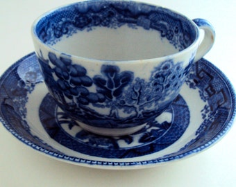 Cup and Saucer. English China in Blue Willow Pattern. Burslem Porcelain. WR Midwinter Pattern.