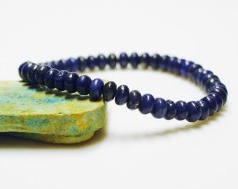 Lapis Bracelet / Lapis Lazuli / Afghani Lapis / Genuine Lapis / Indigo / Simple / Size Small / Stacking Bracelet / Stretchy Bracelet
