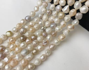 Wholesale Freshwater Pearl Necklace White  Pink Rice Pearls.I-PEA-0381