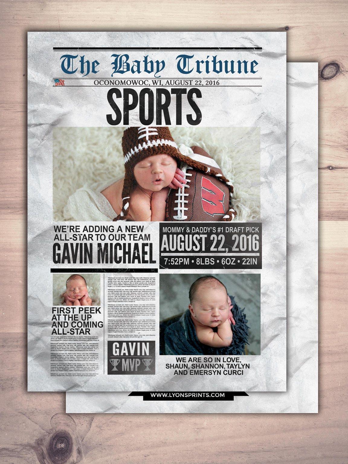 newspaper pregnancy announcement  birth announcement  baby boy  sports  football  baby shower