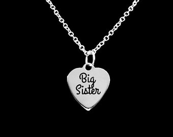 Sister Gift, Big Sister Necklace, Gift Heart Sisters Charm Necklace