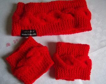 Headband, ear muffs, headband, head warmer and wrist/arm warmers knit.