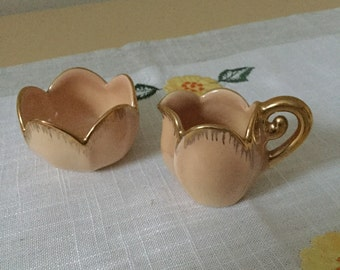 Lovely Vintage Ceramic Cream & Sugar Bowl Set- Pinky-Peach and Gold- Signed Velona Star