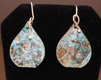 Etched Copper Teardrop Earrings with Blue Patina (043018-018)
