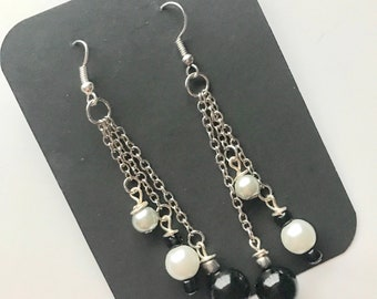 Black, White and Silver Chain Dangle Earrings, Black White Silver Beaded Dangle Earrings, Silver White Black Earrings, Chain Dangle Earrings