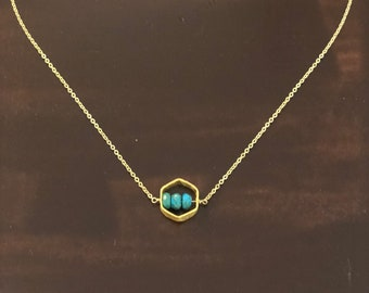 Turquoise Hexagon Simple Necklace