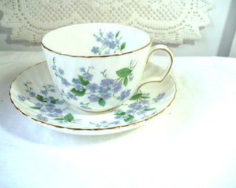 High Tea Tea Cup and Saucer, Purple Forget Me Not Fine Bone China, Tea Cup Party Favor, High Tea Party, Garden Party Favor