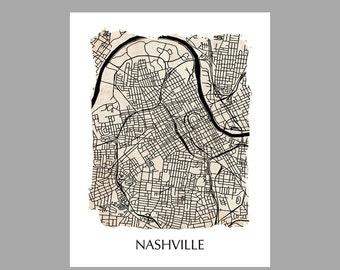 Nashville Map – Torn Edge Print – Poster – Print – Vintage – Grunge