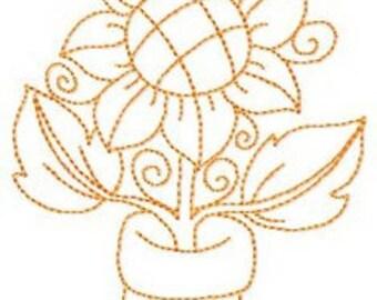 Instant Digital Download Country Autumn Quilter 5X7 Rooster Hen Sunflower Pumpkin Harvest Machine Redwork Embroidery Designs