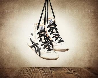 Vintage Wrestling Shoes Photo Print, Rustic Decor, Boys Room, Sports Theme room