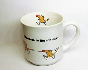 Sandra Boynton Mug Welcome to the Rat Race Vintage 80s ~ Graduation Gift ~ First Job Gift ~ New Job Gift ~ 1980s Cartoon Coffee Cup
