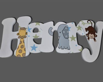 Jungle Letters, Monkey, Giraffe, Elephant, Wall Letters for Nursery, Wooden Letters, Wall Decor, Wall Letters, Nursery Signs Painted Letters