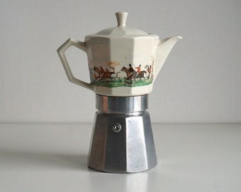 Vintage moka pot with fox hunting scenes, porcelain stovetop coffee maker with unusual decor