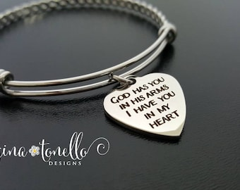 God Has You in His Arms I Have You in my Heart, Memorial Bracelet, In Memory, Remembrance Jewelry, Loss of Mother Father Child Husband, TW