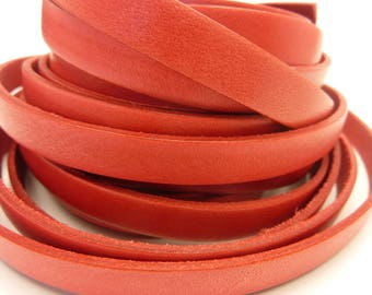 33.5 cm leather strap 10 mm flat coral