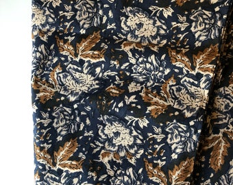 Bohemian Rhapsody Print, Indian Cotton, Printed Cotton by the yard, Midnight blue floral print, All over boho printed fabric, Spring fashion