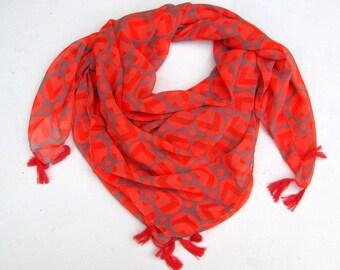 Orange scarf/ georgette scarf/ tassel scarf/ gift  scarf / gray scarf /  gift ideas.