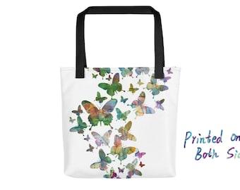 Butterflies Tote Bag, Teacher Tote Bag, Trendy, Washable Handbag, Shopper Bag, Shopping Bag, Summer Tote, Travel Bag, Valentines Gift