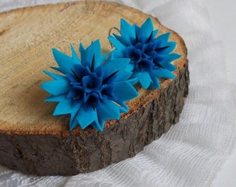 cornflower earrings, blue flowers, cute earrings, stylish earrings, handmade, gift earrings