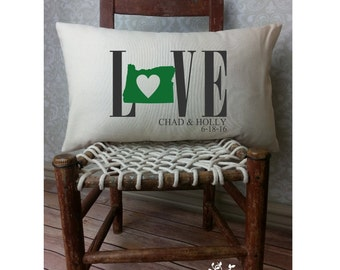 Oregon Love Pillow, Love Pillow, Wedding Pillow, Anniversary Pillow, Personalized Pillow, State Pillow, Oregon Pillow