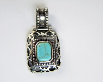 Sterling Silver Filigree and Turquoise Wide Bail Pendant - 2681I