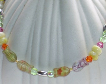 Iridescent Colorful Fish Anklet Purple Yellow Orange Pink Cream Green Wedding Gift Summer