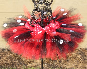 Red and Black Minnie Mouse Tutu - Newborn - Baby Infant Toddler up to size 4T - Birthday Outfit