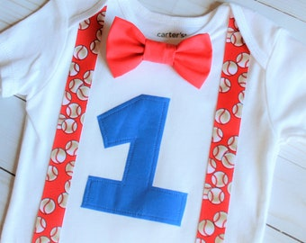 Baseball Birthday Outfit, Cake Smash Outfit, Baby Boy First Birthday Outfit