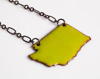Washington State Necklace - Enamel on Copper, pendant, geographic