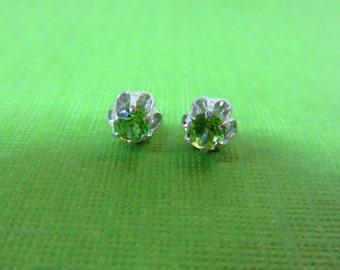 Peridot Earrings - Faceted Peridot Post Earrings - 4mm Round Peridot Gemstone Sterling Silver Posts