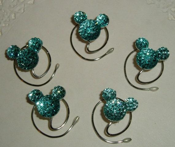 Cinderella Gift-MOUSE EAR Hair Swirls-Disney Wedding-Aqua Blue Acrylic-Hidden Mickey-Flower Girl