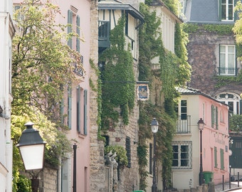 Paris Photography, Streets of Montmartre, soft pink, Paris, France, French Wall Decor, Parisian Architecture, Green Ivy