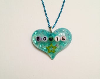 Sparkly Light Blue Bowie Necklace On Blue Chain