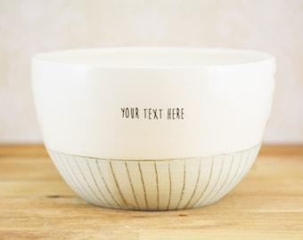 Customized ceramic bowl. Custom cafe au lait bowl, pastel and geometric patterns. Personalized ceramic bowl.