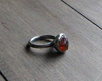 Silver Ring Garnet Ring Gemstone Ring Birthstone Ring Cocktail Ring January Capricorn Orange Sienna Rust Rough Stone Ring Handmade Artisan