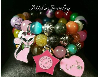 10mm Mix Beaded Bracelet Set/Stack with Miskas  Jewelry Ladies