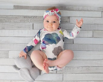 Baby Bodysuit, Baby Girl, Cloud Print, Soft, Long Sleeves - READY TO SHIP (newborn - 2 years)