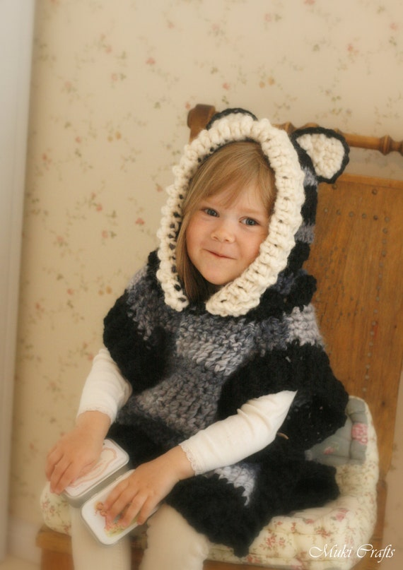 Crochet Pattern Fox Wolf Hooded Chunky Poncho Max Toddlerchild