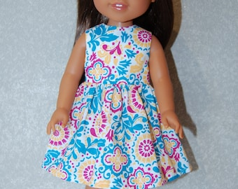 "Dress for 14"" Wellie Wishers or Melissa & Doug Doll Clothes turquoise-pink tkct1135 READY TO SHIP"