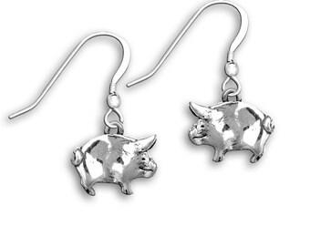 Sterling Silver Pig Earrings