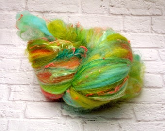 "Fiber Batt, Art Batt, Fiber Art Batt for Spinning or Felting- ""Bubble Gum Pop"", 4 ounces"