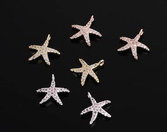 2pcs Tiny CZ starfish charm/pendant, gold/rose gold/silver  pave starfish charm/pendant, 12MM*12MM