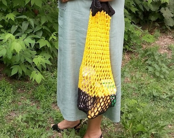 Eco market bag yellow and black crochet string bag mesh tote