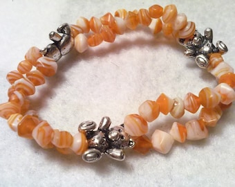 Orange Beaded Bear Bracelet