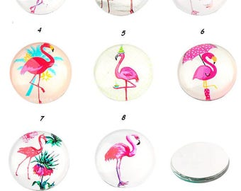 x 1 illustrated 16 mm cabochon glass tropical bird pink.