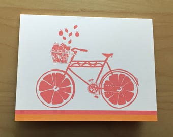 Fruit Bike Stationery - set of 8 cards - ready to ship