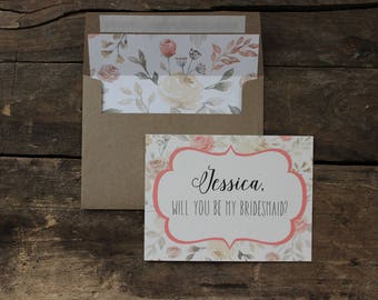Bridesmaid Proposal Floral Will you be my Bridesmaid Card, Maid of Honor, Wedding Party - 1 card